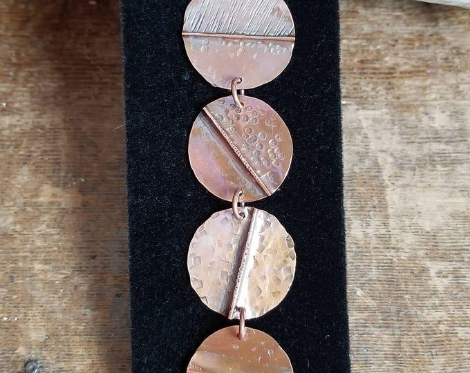 Artisan Copper Fold Form Disk Bracelet