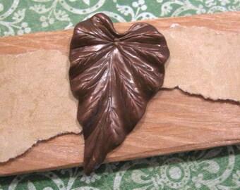 Large Vintage Patina Leaf Pendant
