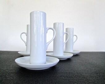 Lagardo Schmid Tackett Espresso Set in White Porcelain, Elegant Modernist Iconic Staple of every Mid Century Home