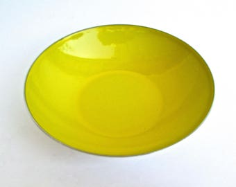 Small Cathrineholm Canary Yellow Silver-Backed Shallow-Bowl from the Tiffany Line, by Grete Prytz Kittelsen, Norway 1960s