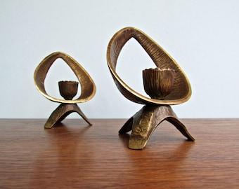 Abada Shabbat Brass Candleholders, Made in Israel, Judaica For Everyday Modern Living, Brass Brutalist Middle Eastern Design