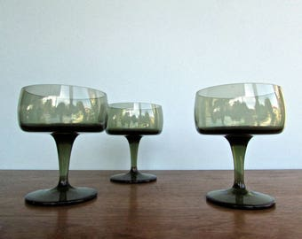 Gorham Images 1969 Accent Green Champagne Coupe, Modern Smoky-Green Crystal Champagne Glasses Perfectly Balanced