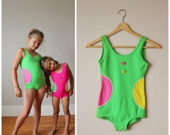 ON SALE NOS, 1960s Confetti Dot Swimsuit >>> Girls Size 8/10