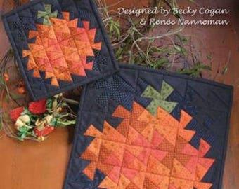 PATTERN TWISTER Punkin PUMPKIN Pinwheel Fall Autumn mini Quilt 2 sizes Wall Hanging