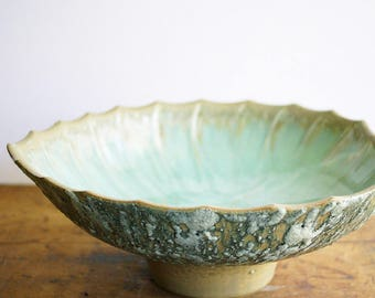 Mid Century Modern Pedestal Console Bowl Aqua Lava Glaze Leaf Shaped Design Large Statement Piece