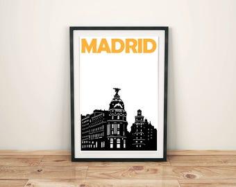 Madrid Print // Spain Travel Poster // City Print // Spanish Art // Madrid Poster // Madrid Art // Spanish Poster / Spanish Gift / Spain Art