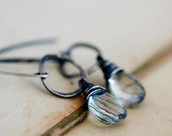 Green Rutilated, Rutilated Quartz, Pine Needle, Sterling Silver, Dangle Earrings, Wire Wrapped, Drop Earrings, Quartz Earrings, PoleStar