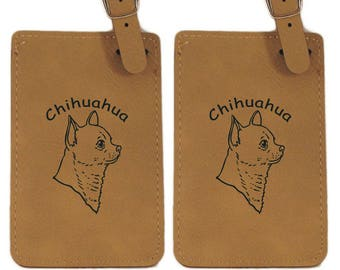 Smooth Chihuahua Head Luggage Tag 2 Pack L2113
