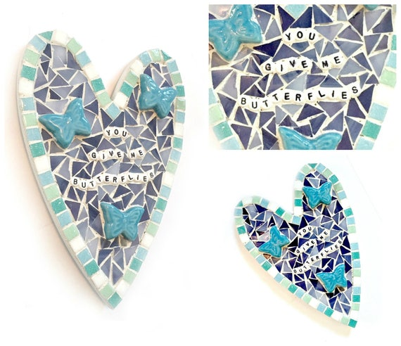 Butterfly Heart Plaque, Heart Shaped Mosaic Butterfly Plaque, You Give Me Butterflies Mosaic Heart Wall Decor, Blue Butterfly Mosaic Heart