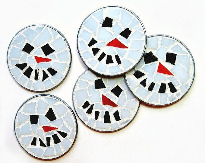 ONE Snowman Frosty Mosaic Magnet, Snowman Magnet, Mosaic Magnet, Holdiay Magnet, Winter Magnet