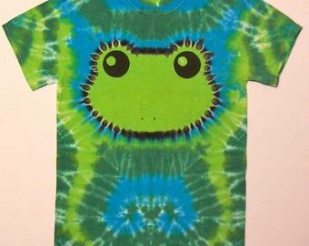 Green Tree Frog Shirt - Size Adult Small - Tie Dye Shirt