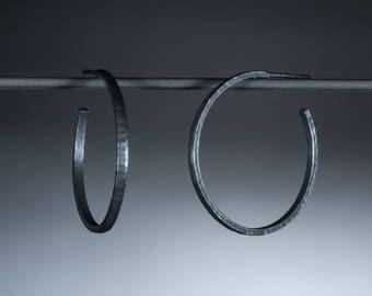 30mm Sterling Silver Earrings, Narrow