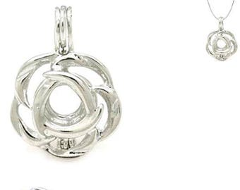 5 * Cages FLOWER floral 24x17mm pearl ~5-6mm bead antique silver-plate flower pendant - MERZIEs SHIPs from USA * Combined Shipping