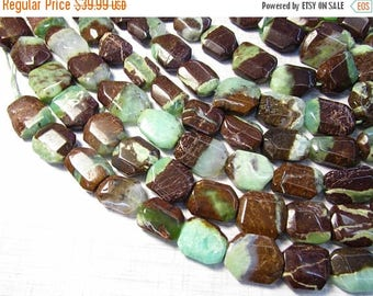 20% Off OUT Of TOWN SALE Natural Chrysoprase Beads Nugget Octagon Square, 12mm 15mm 20mm Natural Green Gemstone Beads 16 Inches, Natural Chr