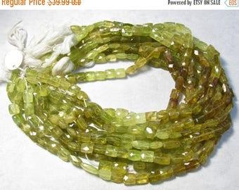 20% OFF SALE Natural Grossular Green Garnet Beads, 8mm x 10mm Rectangle, 14 Inches , Natural Green Gemstone