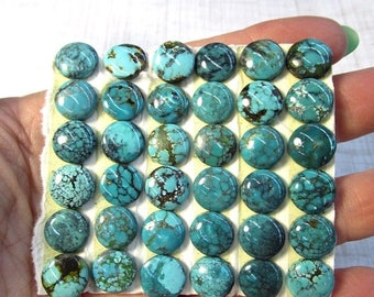 SALE Out Of TOWN Kingman Arizona Turquoise Cabochon 10mm Round , QTY2, Natural Gemstone E47D