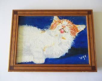 Original Cat Painting, White & Orange Kitten Grooming Time, Small Framed Art, Signed E. Hays ?