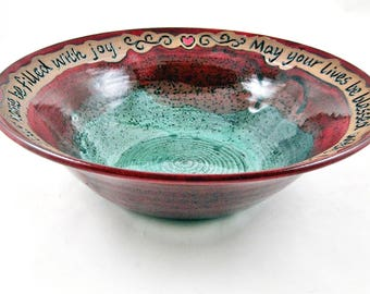 Personalized wedding blessing bowl in Dark red and Teal green, Custom engraving serving bowl, gift for the couple