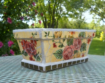 Mosaic Pottery Pot Planter, Vintage Rectangle Garden Pot, Rose Flower Tiles, Yellow, Sage, Mortar Glass Patio Decor, Shabby Chic Garden