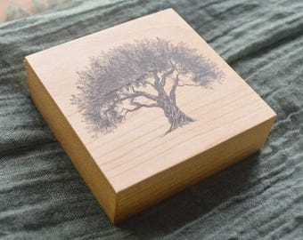 Olive Tree Art Print on Wood Square - Pen and Ink Drawing on Wood Block Panel with option of Ornament