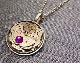 Steampunk watch movement gear necklace