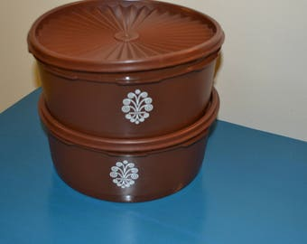 2 Vintage Brown Tupperware Round Containers, 80s, Sunburst Lids