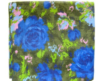 1960s Vintage Barkcloth Fabric / FLORAL Roses in Blue Olive Green and Pink / Large Mod Floral Print / By the Yard