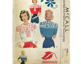 1940s Vintage Sewing Pattern / Misses' Blouse with Mexican Embroidery / McCall 990