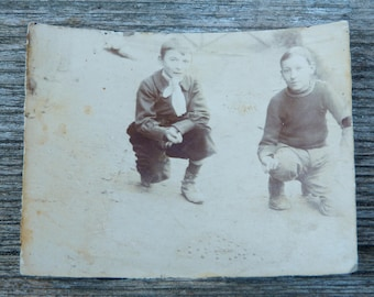 Vintage 1900s French sepia albumen photography boys playing marble