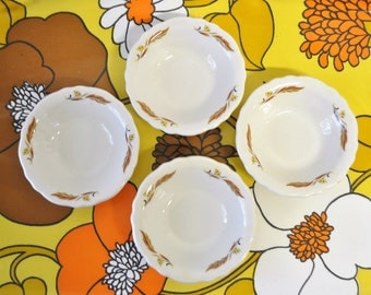 4 vintage Homer Laughlin Best China made in USA dipping bowls / vintage bowls / wheat design bowls / serving bowls