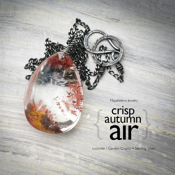 Crisp Autumn Air - Lodolite Quartz Crystal Wire Wrapped Sterling Silver Necklace