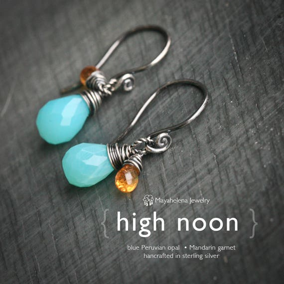 High Noon  - Blue Peruvian Opal and Mandarin Garnet Sterling Silver Earrings