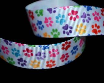 Paw Print Ribbon, Animal Print Ribbon, Colored Paws Ribbon, Rainbow Paw Ribbon, Dog Paw Ribbon, Animal Trim, Pet Leash Ribbon, K9 Paw Ribbon