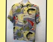 Vintage reproduction 1940s koi fish Hawaiian shirt