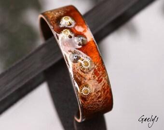 Automne  - Bracelet emaux sur cuivre - jonc de cuivre - rouille / cognac- murines - Cuivre emaillé - Gaelys
