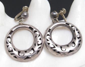 Vintage Sterling Hoop Earrings Taxco Jewelry E5903