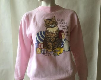 MOVING SALE Cat and Raggedy Ann sweatshirt, pink with multicolor screenprint, by Hep Cat, Nashville TN, men's medium / women's large