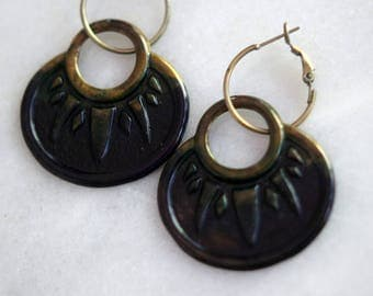 Ombre Navy Blue and Dark Bronze Patina Earrings, Bohemian Dangles, Brass Hoops, Distressed, Summer Jewelry