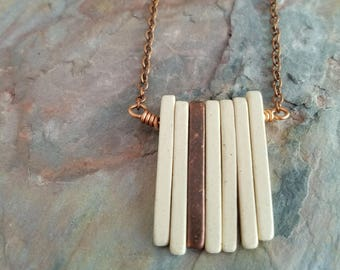 Ivory and Copper Ceramic Spikes Necklace, Modern