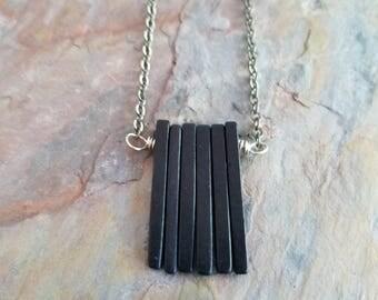 Black Ceramic Spikes Necklace, Modern