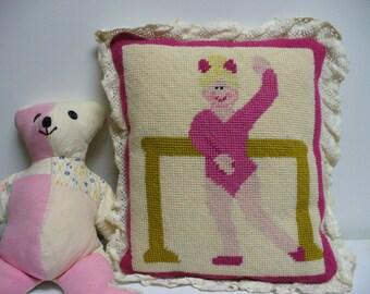 Sweet Vintage Needlepoint Ballerina Pillow