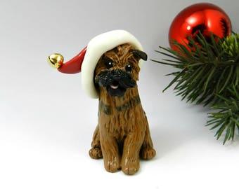 Border Terrier Christmas Ornament Figurine Santa Hat Porcelain