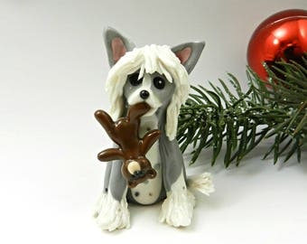 Chinese Crested Christmas Ornament Figurine Teddy Bear Porcelain