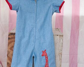 Vintage Coveralls  - Pantsuit Giraffe Denim Look Adorable Size 2 Romper