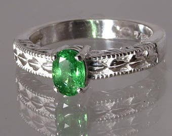 Tsavorite / from Tanzania / Rare Green Garnet / in Sterling Ring / NOW on SALE / Fast Free Shipping / Free Gift Box & Gift Wrap
