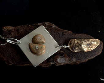 one of a kind silver brass necklace hand made artisan jewelry pebbles leaf inspired by nature