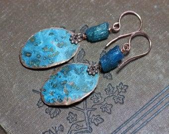 Copper Earrings Patina Copper Blue Apatite Earrings Rough Gemstone Nugget Rustic Jewelry