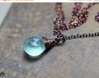 SALE Green Prehnite Necklace Copper Wire Wrapped Green Necklace Briolette Pendant