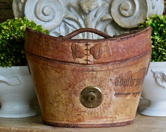 Antique Lovely Leather Hat Box