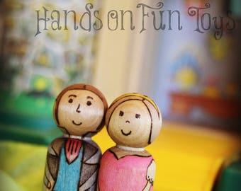 Prince and Princess peg dolls- Made to order
